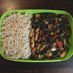 Chicken stir fry with brown rice  #mealprep #Padgram