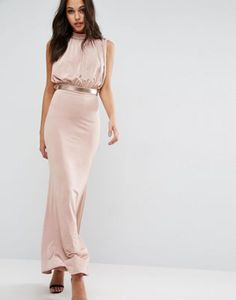 ASOS Slinky High Neck Metallic Belt Maxi Dress