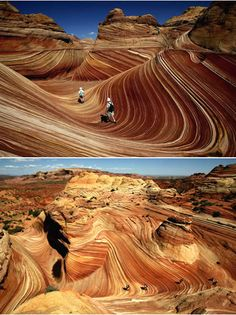 A red-rock stunner on the border of Arizona and Utah, The Wave is made of 190-million-year-old sand dunes that have turned to rock. This little-known formation is accessible only on foot via a three-mile hike and highly regulated.