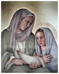 Saint Anne and Child Mary Art Print, Catholic Patron Saint