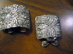 Signed MC Murry Chuven Art Deco Shoe Clips Open Metalwork Paste Rhinestones #MurryChuvenSignedMC #dressy
