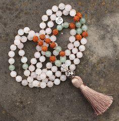"108 bead Rose Quartz ""Unconditional LOVE"" Mala with Aventurine, Rudraksha, Silver Bali bead, OM charm & Cream silk Tassel <3 via https://www.etsy.com/shop/ZuriRocks #intention #jewelry #love #Mala #ZuriRocks"