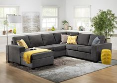 Danielle Sectional with Right-Facing Corner Wedge – Grey On Track. When you want to keep your living room on the path to contemporary style, the Danielle three-piece sectional with modular loveseat is the perfect solution. Designed with wide track Corner Sofa Living Room, Living Room Sofa Design, Living Room Color Schemes, Living Room Sectional, Rugs In Living Room, Living Room Designs, Grey Corner Sofa, 3 Piece Sectional Sofa, Corner Sectional