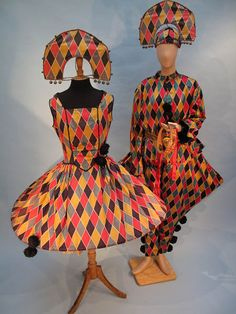 Would totally wear to a fancy dress party! -L// Harlequin Outfit. Costumes 1920, Theatre Costumes, Ballet Costumes, Vintage Costumes, Mode Costume, Costume Dress, Vintage Circus Costume, Harlequin Costume, Fancy Dress