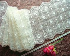 Ivory lace fabric, embroidered beige flowers, tulle mesh net lace trim 3 yards     $10.50