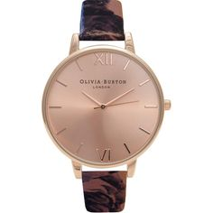 TOPSHOP **Olivia Burton Painterly Prints OB15PP07 watch (485 SAR) ❤ liked on Polyvore featuring jewelry, watches, rose gold, topshop jewelry, water resistant watches, dial watches and topshop