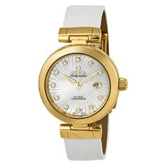 Omega De Ville Ladymatic Diamond Yellow Gold Ladies Watch (9,840 CAD) ❤ liked on Polyvore featuring jewelry, watches, accessories, bracelets, analog watches, gold wristwatches, gold crown, gold watches and white dial watches