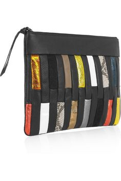 Black leather (Cow) Multicolored leather, foil-effect leather, flecked and patent-leather front panels, gunmetal hardware Fully lined in striped canvas Zip fastening along top