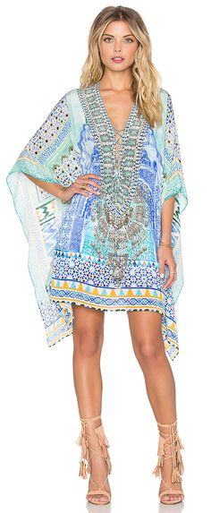 Tolani silk tunic with long, full angled sleeves in gorgeous spring pastels and cream sling back low heels