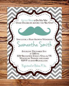 Mustache Baby  shower Invitation, Boy Baby Shower,  Little Man, Brown, Teal, Gray, Chevron Stripes Mustache Baby Boy Shower (Item 5166)