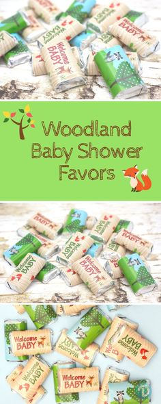 Add these Woodland Creature Animal themed Stickers to Hershey's® Miniature Bars for a simple and easy baby shower party favor or table decoration!  #woodlandbabyshower