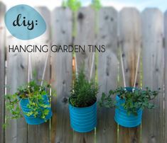 Tin Can Hanging Garden Planters ... whilst metal will eventually rust in the outdoors, upcycling tin cans is a cheap and cheerful way to make your own short-term planters, especially for kids gardens. This tutorial shows you how. For more creative container gardens visit http://themicrogardener.com/clever-plant-container-ideas/ | The Micro Gardener
