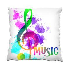 Funky Music Note Rainbow Cushion by designmarketshop at zippi.co.uk