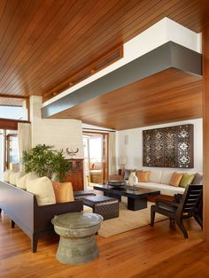Gorgeous Minimalist Home with Modern Wooden Design: Cozy Living Room Modern Woodframe Sofa 33rd Street Residence