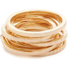 Kenneth Jay Lane Polished Gold 8 Stack Bracelet found on Polyvore featuring jewelry, bracelets, yellow gold bangle, hinged bangle, gold bangles, yellow gold jewelry and yellow gold bangle bracelet