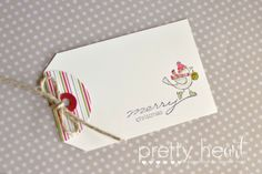 Pretty Heart, Papercraft by Jennifer Frost: In Class - December 2013, Stampin' Up! For the Birds, Christmas, Gift Tag, Bendigo
