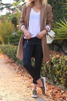 2014 Trends: Slip-on Sneakers leopard, long coat, fall fashion