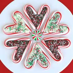 peppermint candy cane hears filled with white and dark chocolates...