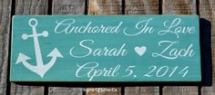 Beach Wedding Sign, Personalized, Nautical Weddings, Teal, Custom, Anchor, Love Quotes, Reception, Gift, Wood, Reclaimed, Reception, Signs, Wall Art Home Master