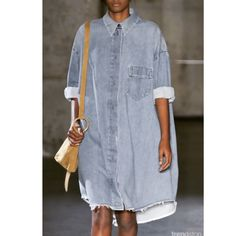 Loving this oversized denim dress looks #denim #hidethepounds #modest #marked