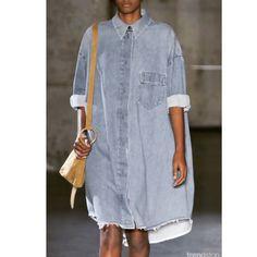 Loving this oversized denim dress looks #denim #hidethepounds #modest #marked