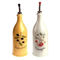 Olive oil and vinegar bottles, Provençal style (huile d'olive et vinaigre) #Provence #France #Europe #culture #travel