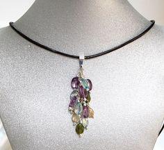 Natural Gemstone Amethyst Apatite Quartz JasperPendant Necklace Protection USA #Handmade #ClusterPendantandEarrings #Healing #Protection #Luck #Love