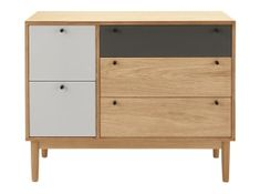 Campton Multi Chest of Drawers, Oak and Grey Wide Chest Of Drawers, Bedside Table Design, Apartment Renovation, Dark Stains, Tidy Up, Ash Grey, Minimalist Design, Home Furnishings, Cushions