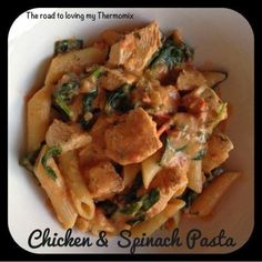 Chicken and Spinach Pasta. Think I'll replace cream cheese with lactose free cream and cheese and fresh chives.
