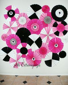 Set of 5 Party Decor Paper Rosettes/ Fans by PetiteExtravaganzas, $25.00