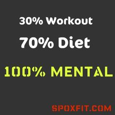 30% workout, 70% diet, 100% MENTAL