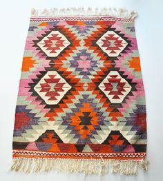 Sukan / VINTAGE Turkish Kilim Rug Carpet  handwoven kilim door sukan, $380,00