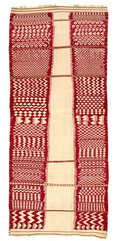 Africa | Kabylie Berber woman's cover {Azellal} from the El Feija Region, of Algeria |19th century | wool, natural dyes including cochineal, tapestry and supplementary weaving