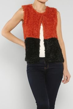 Furry Contrast Vest #wholesale #fall #cardigan #sweater #pants #jacket #sweater #fashion #clothing #ootd #wiwt #shopitrightnow #vest