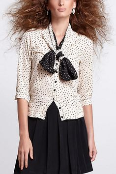 Dotted Tieneck Blouson - Anthropologie.com