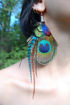 Bohemian Groove- Pixie GlamouR- Colorful Feather Earrings- ETSY