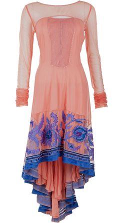 Pink trail kurta with applique work by TARUN TAHILIANI. http://www.perniaspopupshop.com/designers-1/tarun-tahiliani