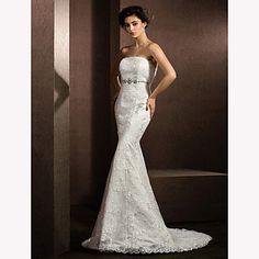 Trumpet/Mermaid Strapless Court Train Lace Wedding Dress (2487440) – USD $ 199.99