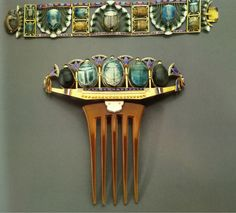 Art Nouveau  Unknown Maker (French)  Egyptian-revival tiara comb and bracelet   c. 1900  Gold, enamel, ruby, sapphire, and glazed steatite (ancient Egyptian scarabs)