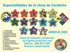 Especialidades del Club de Corderitos. Central San José. Diseño y elaboración: Joseph Alemán