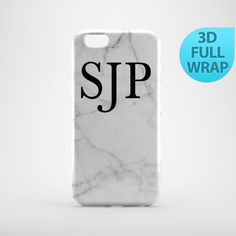 White Marble Monogram Personalised Case for iPhone 4 4s by GiftsMK