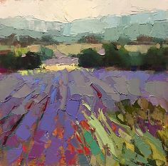 Provence in July by Trisha Adams Oil ~ 12 x 12 Impressionist Landscape, Abstract Landscape Painting, Impressionist Paintings, Landscape Paintings, Landscape Rocks, Landscape Edging, Landscape Wallpaper, Abstract Portrait, Portrait Paintings