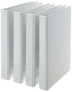AmazonBasics 3-Ring Binder, 1 Inch - 4-Pack (White)