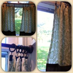 Cheap, easy, home made cafe curtains! Used curtain clips and tension rod from bed bath & beyond! Great for kitchen windows :)