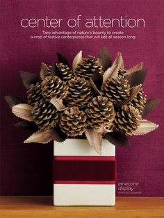 pine cone bouquet - floral arrangement.. Maybe cool center pieces with table number?