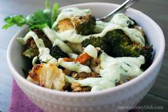 This roasted vegetable power bowl is full of healthy fiber, plant-based protein, micronutrients and topped with a creamy Greek yogurt avocado dressing