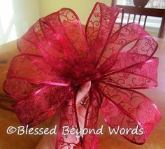 How to Make a Large Bow (Tutorial) « Blessed Beyond Words packaging bow Christmas Tree Bows, Christmas Crafts, Christmas Decorations, How To Make Christmas Tree Bow Topper, How To Make Bows, How To Make Wreaths, Bow Making Tutorials, Making Bows, Homemade Bows