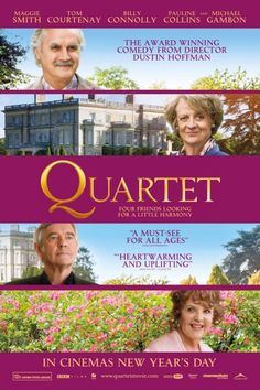 """""""Quartet"""" starring Billy Connolly, Maggie Smith, Tom Courtenay and Pauline Collins. I wanted to stay and see it again. be sure and stay for the credits.) A real sleeper. Dustin Hoffman, Tom Courtenay, Michael Gambon, Billy Connolly, Michael Collins, Maggie Smith, Movie 43, Film Movie, Internet Movies"""