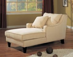 Coaster Comfortable Microfiber Chaise Lounger, Light Beige Need this for the empty spot in my living room