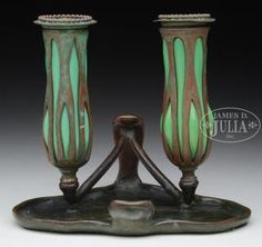 TIFFANY STUDIOS RETICULATED TWO LIGHT CANDLESTICK.